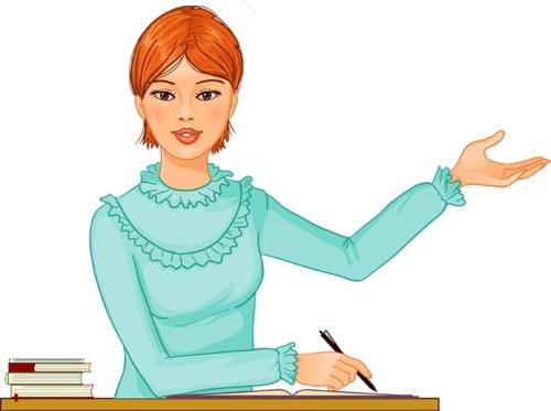 Clipart masada konuşma yapan kızıl saçlı bayan öğretmen resmi png