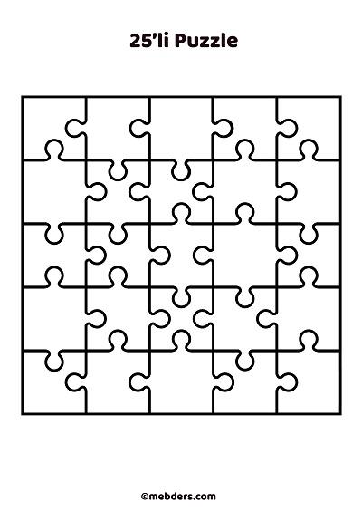25'li puzzle şablon 3