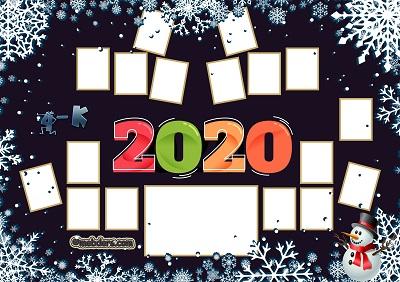 4K Sınıfı için 2020 Yeni Yıl Temalı Fotoğraflı Afiş (17 öğrencilik)