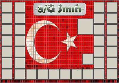 Model 54, 3G şubesi için Türk bayraklı fotoğraf eklemeli kapı süslemesi - 35 öğrencilik