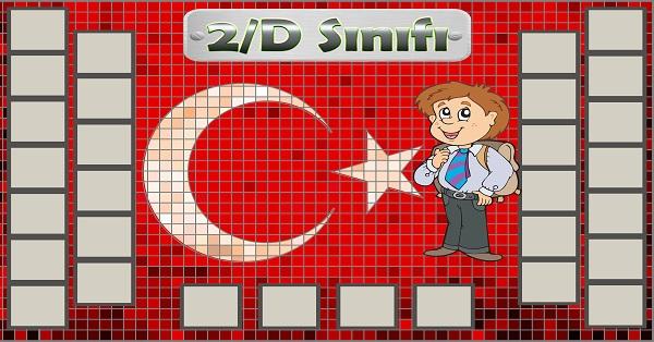 Model 54, 2D şubesi için Türk bayraklı fotoğraf eklemeli kapı süslemesi - 30 öğrencilik