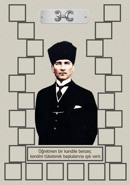 Model 15, 3C şubesi için Atatürk temalı, fotoğraf eklemeli kapı süslemesi - 24 öğrencilik