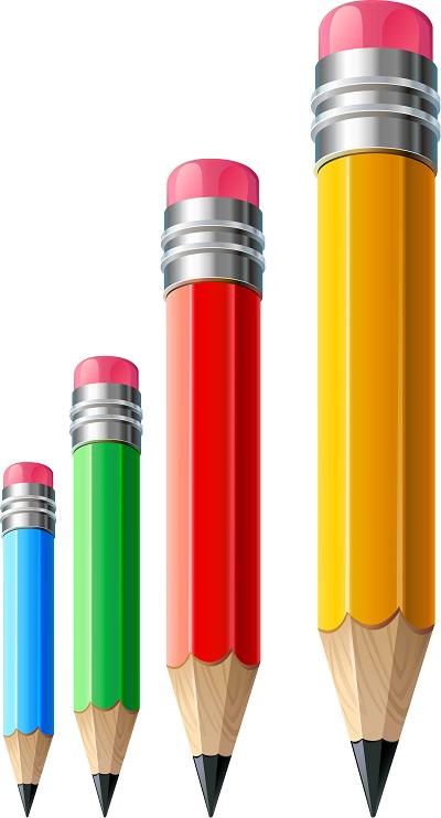 Boy sırasına girmiş kurşun kalemler png
