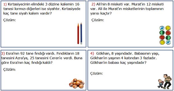 2.Sınıf Matematik Karışık Problemler Etkinliği 1