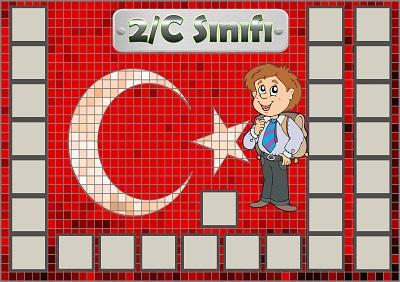 Model 54, 2C şubesi için Türk bayraklı fotoğraf eklemeli kapı süslemesi - 28 öğrencilik