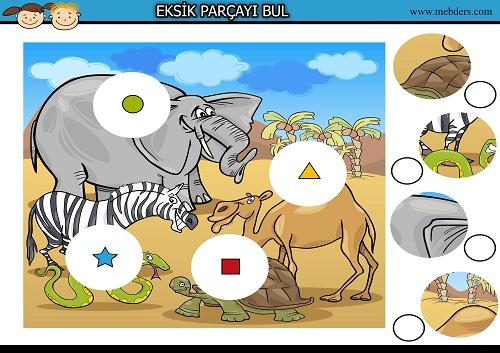 Fil, zebra, devedeki eksik parçayı bulma etkinliği