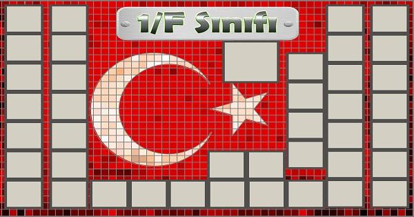 Model 54, 1F şubesi için Türk bayraklı fotoğraf eklemeli kapı süslemesi - 40 öğrencilik