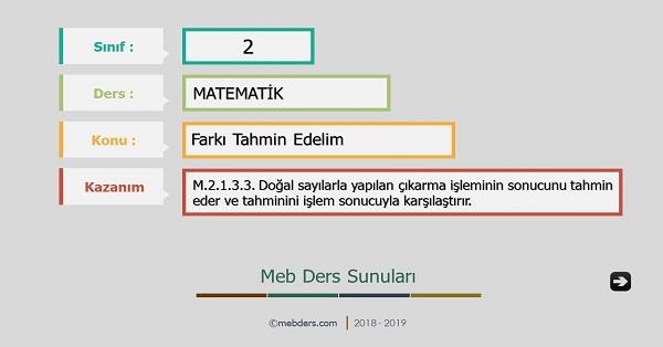 2.Sınıf Matematik Farkı Tahmin Edelim Sunusu