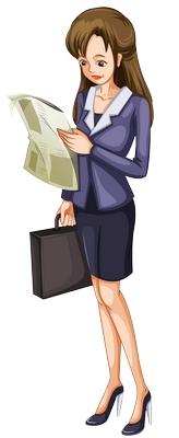 Clipart ayakta gazete okuyan yetişkin bayan resmi png