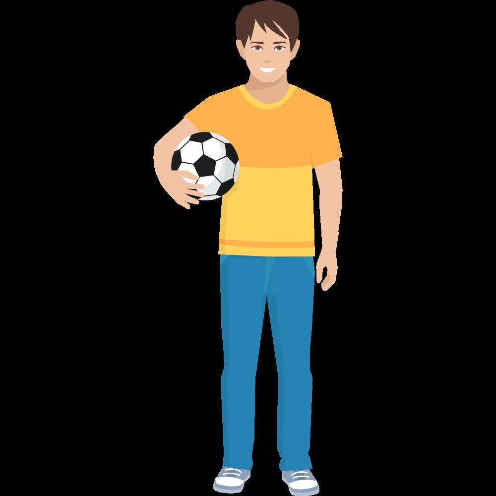 Clipart elinde futbol topuyla genç erkek resmi
