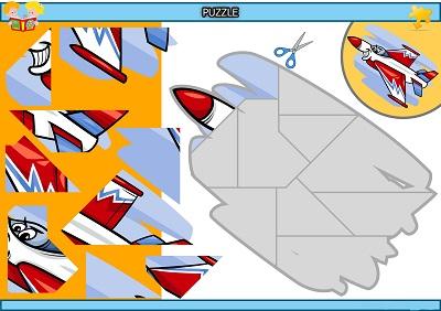 Kes yapıştır sevimli uçak puzzle etkinlik