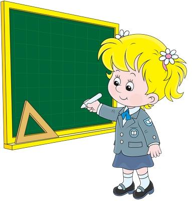 Clipart tahtaya yazı yazan kız öğrenci resmi png