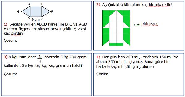 4.Sınıf Matematik 6.Ünite Değerlendirme Etkinliği