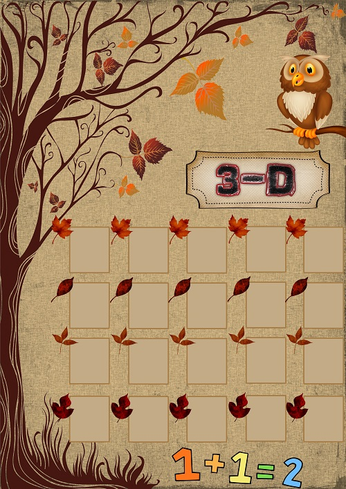 Model 41, 3D şubesi için sonbahar temalı fotoğraf eklemeli kapı süslemesi - 20 öğrencilik