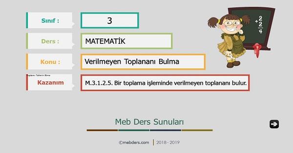 3.Sınıf Matematik Verilmeyen Toplananı Bulma Sunusu