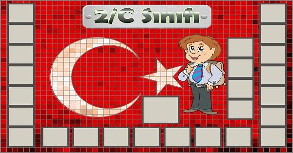 Model 54, 2C şubesi için Türk bayraklı fotoğraf eklemeli kapı süslemesi - 25 öğrencilik