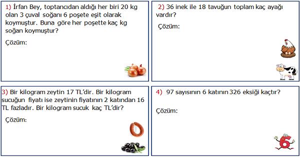 3.Sınıf Matematik Karışık Problemler Etkinliği 1