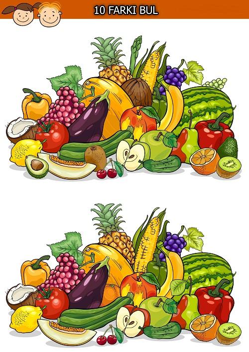 Karışık meyve ve sebzeler arasındaki 10 farkı bulma etkinliği