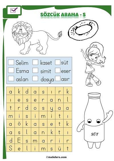 1.Sınıf İlkokuma Boyamalı Sözcük Arama Etkinliği - S Sesi