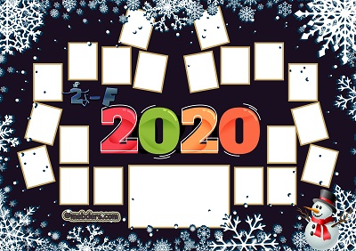 2F Sınıfı için 2020 Yeni Yıl Temalı Fotoğraflı Afiş (20 öğrencilik)