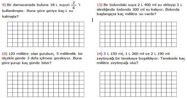 4.Sınıf Matematik Litre ve Mililitre ile İlgili Problemler (Sıvı Ölçme Problemleri) 1