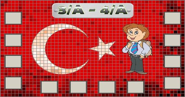 Model 54, Çift şube için Türk bayraklı fotoğraf eklemeli kapı süslemesi - 12 öğrencilik