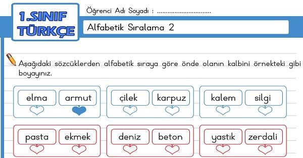 1.Sınıf Türkçe Alfabetik Sıralama Etkinliği 2