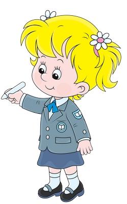 Clipart elinde kalemle dikilen kız çocuğu resmi png