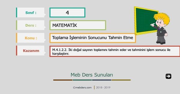 4.Sınıf Matematik Toplama İşleminin Sonucunu Tahmin Etme Sunusu