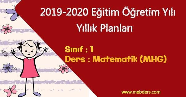 2019 - 2020 Yılı 1.Sınıf Matematik Yıllık Planı (MHG Yayınevi)