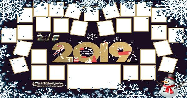 2F Sınıfı için 2019 Yeni Yıl Temalı Fotoğraflı Afiş (29 öğrencilik)