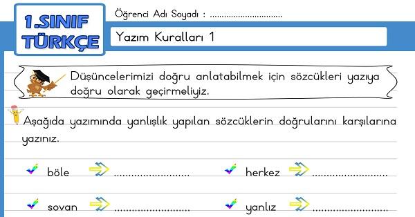 1.Sınıf Türkçe Yazım Kuralları Etkinliği 1