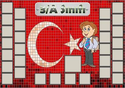 Model 54, 3A şubesi için Türk bayraklı fotoğraf eklemeli kapı süslemesi - 30 öğrencilik