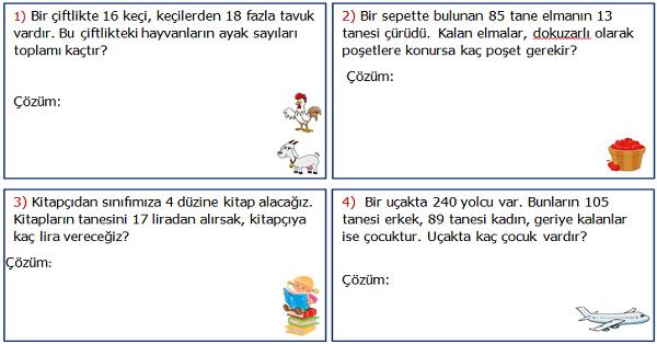 3.Sınıf Matematik Karışık Problemler Etkinliği 2