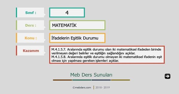 4.Sınıf Matematik İfadelerin Eşitlik Durumu Sunusu