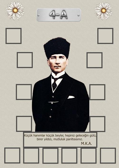Model 15, 4A şubesi için Atatürk temalı, fotoğraf eklemeli kapı süslemesi - 14 öğrencilik