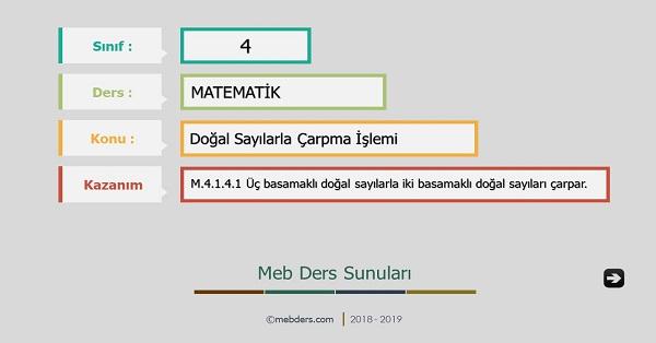 4.Sınıf Matematik Doğal Sayılarla Çarpma İşlemi Sunusu