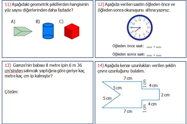 3.Sınıf Matematik Genel Değerlendirme Etkinliği 1
