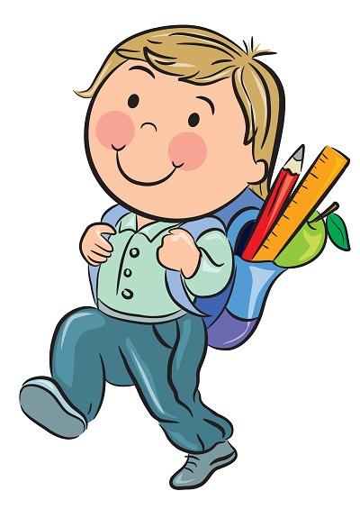 Clipart sırtında çantasıyla yürüyen erkek çocuk resmi png