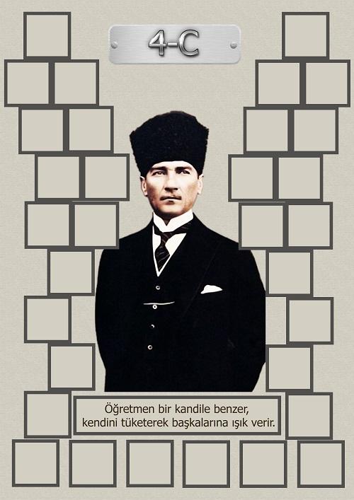 Model 15, 4C şubesi için Atatürk temalı, fotoğraf eklemeli kapı süslemesi - 32 öğrencilik