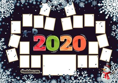 4D Sınıfı için 2020 Yeni Yıl Temalı Fotoğraflı Afiş (20 öğrencilik)