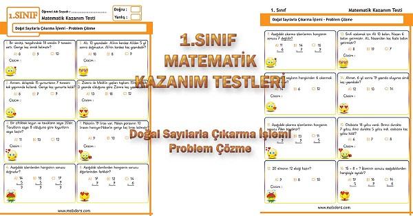 1.Sınıf Matematik Kazanım Testi - Çıkarma Problemleri