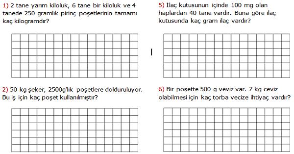 4.Sınıf Matematik Tartma ile İlgili Problemler