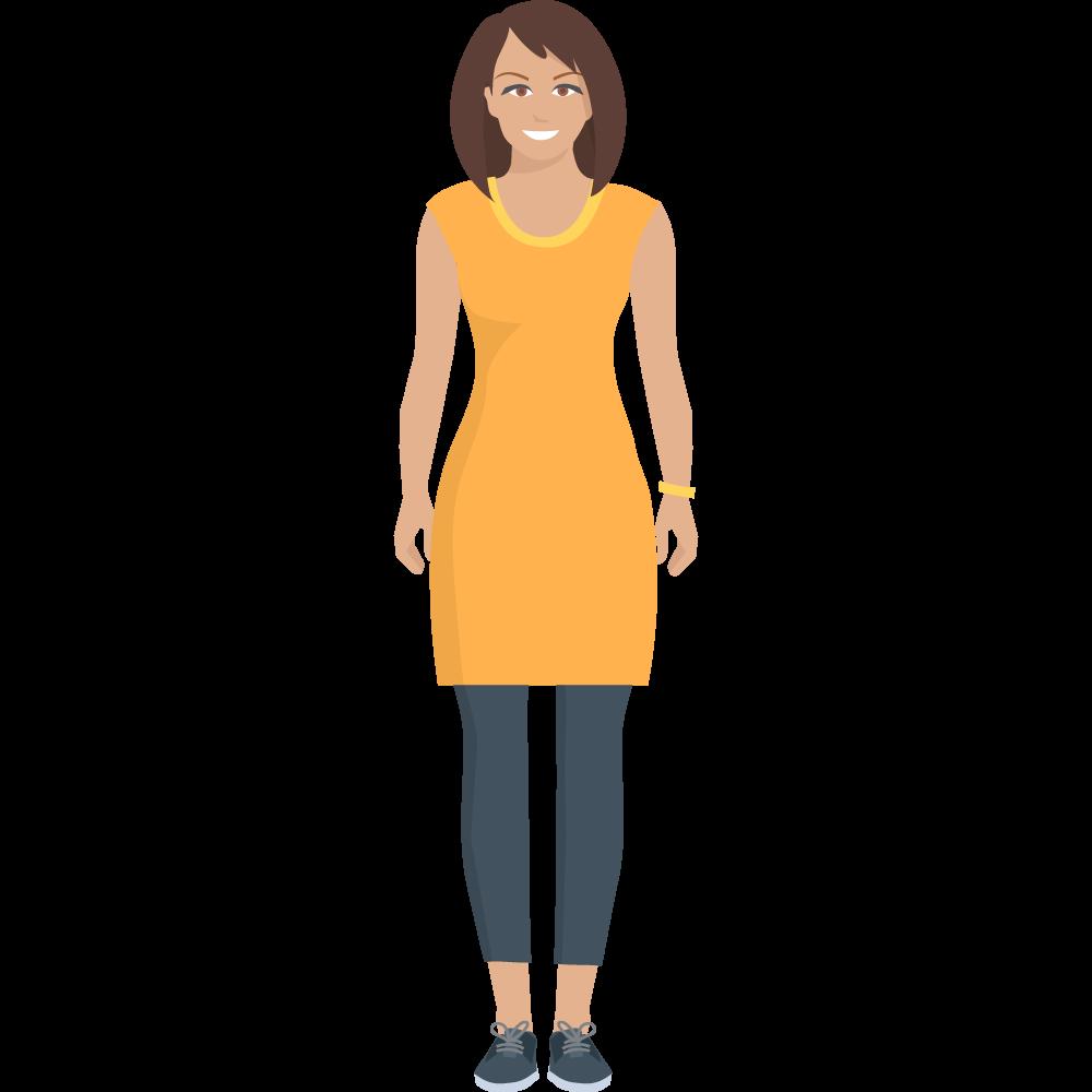 Clipart gülen sarı kıyafetli bayan resmi