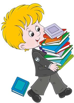 Clipart kucak dolusu kitap taşıyan çocuk resmi png
