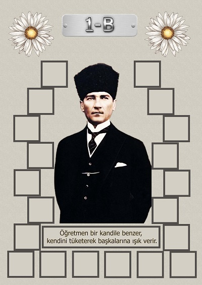 Model 15, 1B şubesi için Atatürk temalı, fotoğraf eklemeli kapı süslemesi - 20 öğrencilik