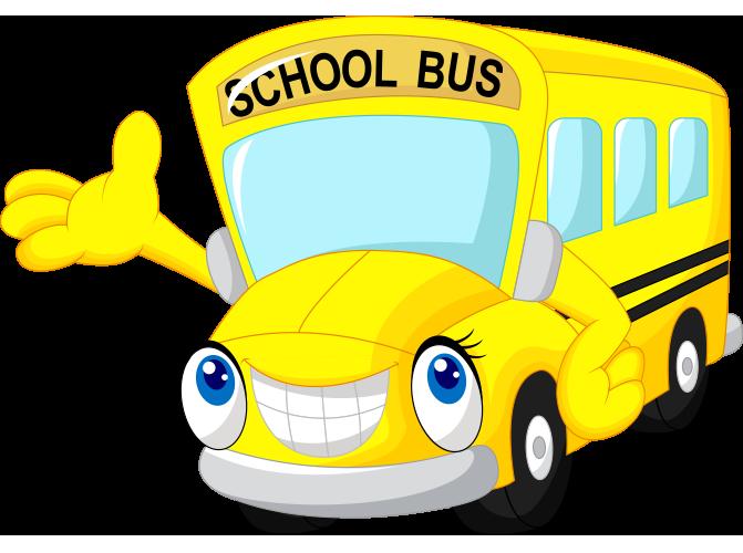 Gülen yüzlü komik okul otobüsü resmi png