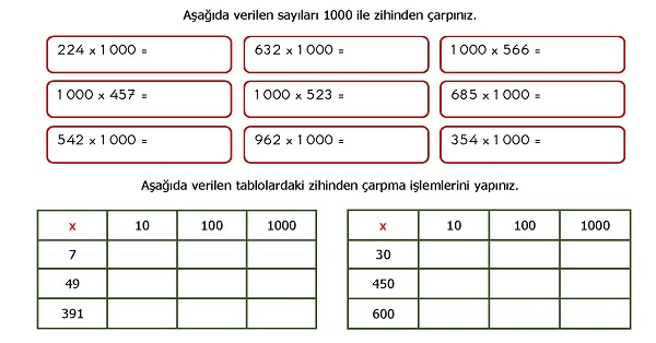 4 Sinif Matematik Zihinden Carpma Islemi Etkinligi Meb Ders