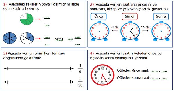 4.Sınıf Matematik 4.Ünite Değerlendirme Etkinliği