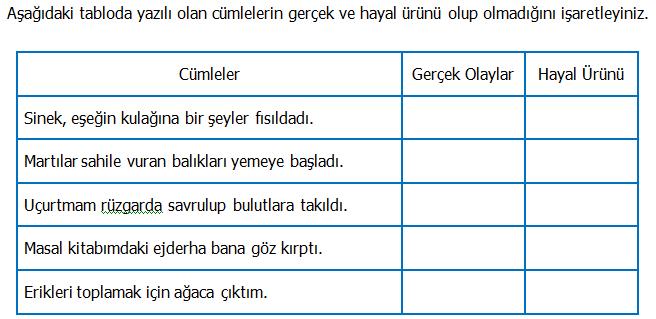 3.Sınıf Türkçe Gerçek ve Hayal Ürünü İfadeler Etkinliği 2